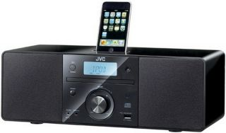 JVC RD N1 Shelf Stereo CD Clock Radio iPod Docking Micro System Black w Aux