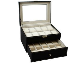 Black Leather 20 Grid Mens Watch Display Case Glass Top Jewerly Box Organizer LG