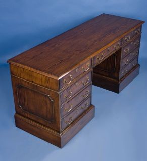 English Antique Style Oak Pedestal Credenza Desk