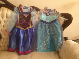 New 2 Girls' Disney Princess Elsa and Anna Frozen Dresses Up Costume Size 4 6