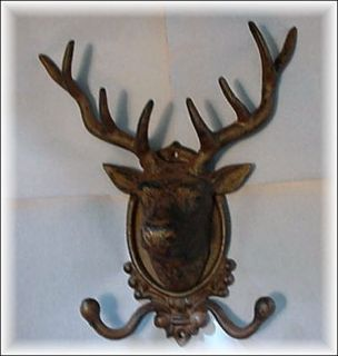 Antiqued Cast Iron Deer Head w Antlers Wall Mount with Double Hooks