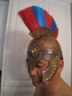 Roman Soldier Real Metal Helmet Medieval Knight Officer Armor Costume w Plum