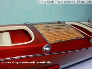 Chris Craft Triple Cockpit Wooden Speed Boat Model 32inch Wooden Model Kits