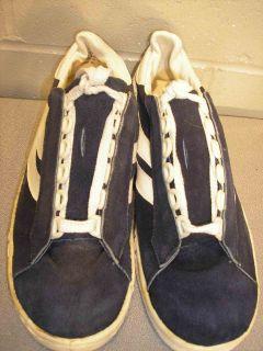 Sz 7 New Vtg 70s Mens Navy Blue Suede Stripe Sneakers Tennis Skater Shoe 7