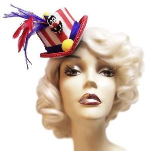 Scary Circus Mini Gothic Horror Steampunk Crazy Clown Fascinator Top Hat Tiny