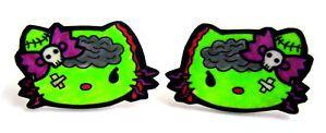Zombie Hello Kitty Earrings Punk Rock Horror Gore