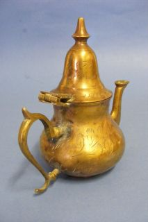 Antique Moroccan Copper Coffee Tea Pot Kettle Pitcher