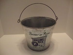 Vintage Rolling Rock Galvanized Metal Tin Beer Ice Bucket Bucket of Rocks