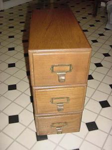 Antique 3 Drawer Oak Wood Library Card Catalog Box Index File Cabinet