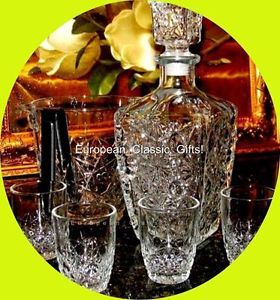 9 PC Glass Decanter Set Shot Glasses Ice Bucket Whiskey Whisky Scotch Glassware