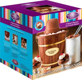 Electric 4 Quart Wooden Bucket Ice Cream Maker Machine w Old Fashion Nostalgia