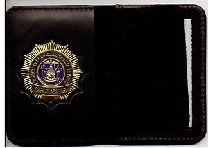 NYS Dept of Corrections Officer Style Badge Cutout ID Card Bifold Wallet