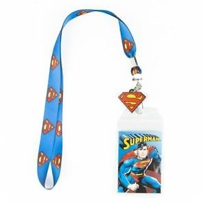 Superman Logo Lanyard ID Badge Holder with Rubber Charm