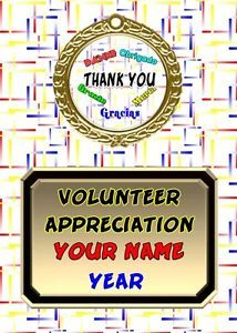 Thank You Multi Languages Personalized Award Plaque Gift Volunteer Appreciation