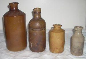 Lot of 4 Antique Stoneware Master Ink Bottles