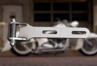 Solo Seat Front Hinge Kit Weld on Bracket Brushed Steel for Custom Choppers