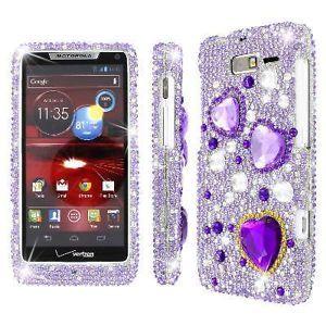 For Motorola Droid RAZR M XT907 Diamante Bling Jewel Purple Hearts Case Cover