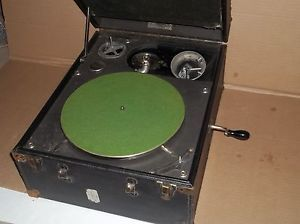1920s Wind Up Hand Crank Record Player Phonograph Jewel Tone Phonoparts Co Case