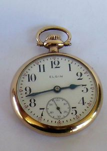 Elgin Father Time 21 Jewel Pocket Watch 16 Sz Gold Filled Case 1912