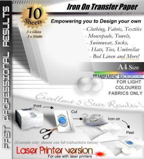 Laser T 10 Blank T Shirt Iron on Heat Transfer Printer Paper Light Fabrics