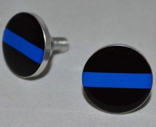 """2 Polished Billet """"Police Blue Line"""" Motorcycle License Plate Frame Screws Bolts"""