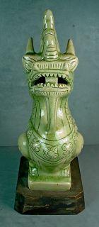 Vintage Chinese Celadon Porcelain Dragon Bust Figurine