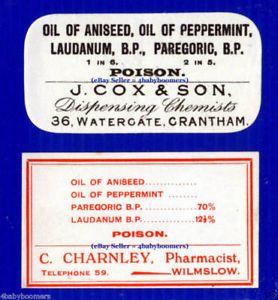 2 Laudanum Opium Antique England Medicine Bottle Labels