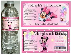 20 Minnie Mouse Birthday Party Favors Water Bottle Labels