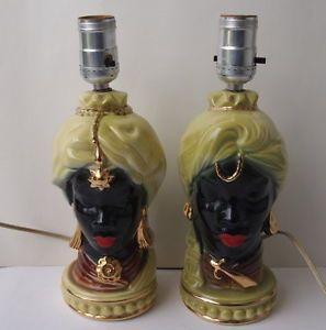 Pair Vintage 50's Blackamoor Nubian Genie Lamps Excellent Condition Gold Accent