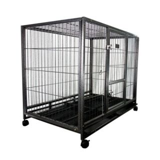 """43"""" Heavy Duty Metal Dog Cage Kennel w Wheels Portable Pet Puppy Carrier Crate"""