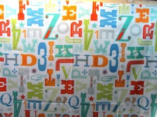 alphabet fonts number symbols fabric shower curtain novelty abc 123 bright multi