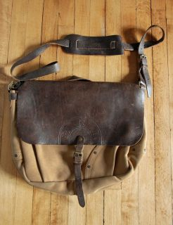 646f5d0271 RARE RRL Double RL Canvas Leather Mail Bag Mint Ralph Lauren Made in Italy