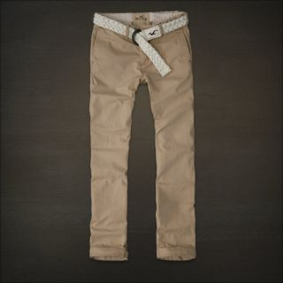 Hollister HCO Redesigned Slim Straight Chino Khaki Pants with Belt 34x32 New