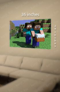 Minecraft PC Xbox Huge Poster Print 36x24 Steve Herobrine Cake USA New