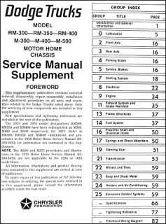 1974 1975 Dodge motorhome Shop Manual Supplement 74 75