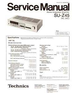 Technics Panasonic Su Z45 Service Manual PDF