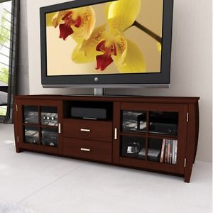 Espresso Tv Stand Flat Screen 62 Inch Television Entertainment