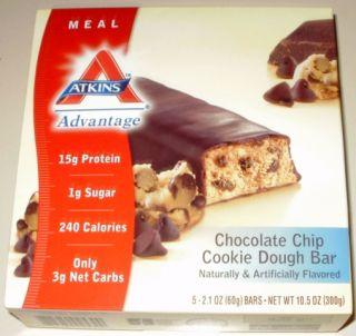 Atkins Advantage Bar Chocolate Chip Cookie Dough 5 Bars Exp 16 April 2014