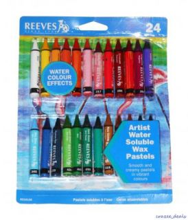 Lot of 24 Piece Reeves Water Soluble Wax Pastel Artist Paint Water Colors New