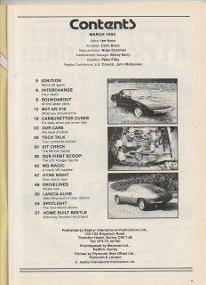 Sports Kit Car Builder March 1984 Fiat x19 Guide Minion Jackal Kougar Sports