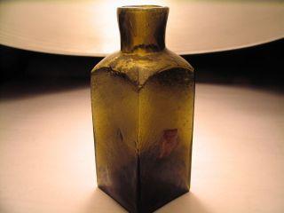 Primative 19th Century Olive Green Medicine Bottle Pontil Grit Bubbles Nice