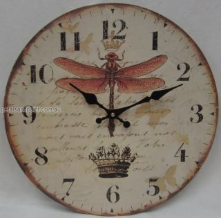 34cm Rustic French Provincial Country Dragonfly Wall Clock Large Numbers BNIP