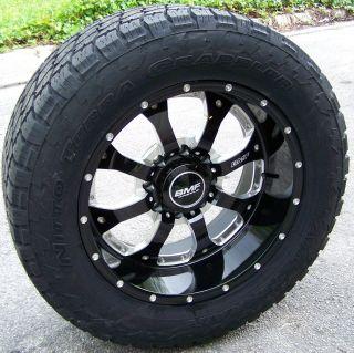 "20"" Black BMF Novakane Wheels 33"" Nitto Terra Grappler Chevy GMC Dodge 2500 3500"