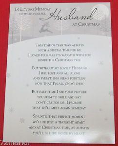 Loving Memory Graveside Memorial Christmas Card Husband