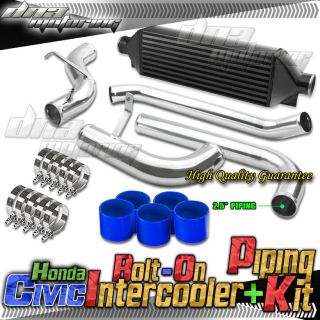 Civic Integra Bolt on Bar Plate Black Front Mount Intercooler Kit Piping EG EK