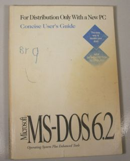 Microsoft MS Dos 6 2 Operating System Plus Enhanced Tools Book