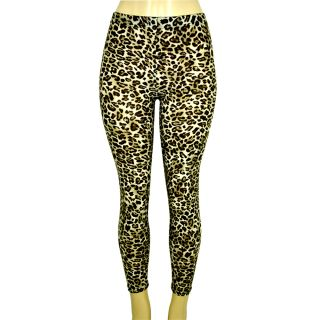 Tan Black Brown Cheetah Stretchy Animal Print Leggings