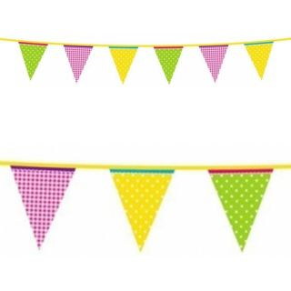 4M Summer Garden Party Green Yellow Pink Plastic Pennant Banner Bunting