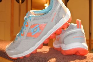 New Womens Skechers Sports Skech Air Light Gray Coral Sneaker Memory Foam Plus 9