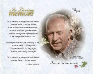 In Loving Memory Memorial Your Photo Poem Mother Father Brother Sister Uncle